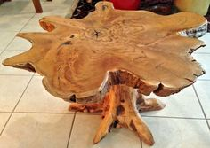 Stays Eco Friendly with Tree Stump Coffee Table