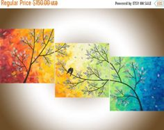 Contemporary wall art colorful art 36 large square by QiQiGallery