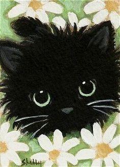 ACEO Original Acrylic Painting-Black Cat Daisies: