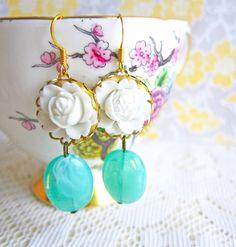 White Floral Earrings White Mint Green $6