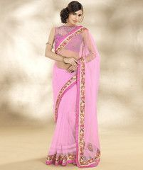 Pink Color Net Party Wear Sarees : Nirjala Collection  YF-41599