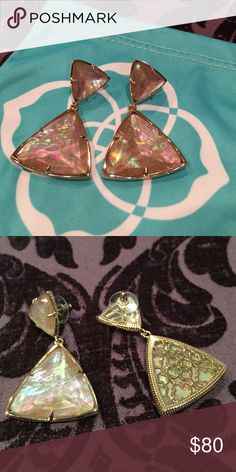 """Kendra Scott Maury Brown Pearl Earrings Kendra Scott Maury Brown Pearl Earrings in EUC. Retired style. Rose gold plated over brass. 2"""" L x 1.25""""W on post. Comes with pouch. No trades, PP or M. I'm a fast shipper! 🛍 📦💜 Kendra Scott Jewelry Earrings"""
