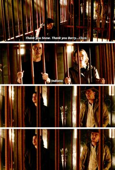 """Thank you Snow. Thank you Barry... Cisco... Indiana"" - Harry, Barry, Caitlin, Cisco and Julian #TheFlash ((Hahahaha!))"