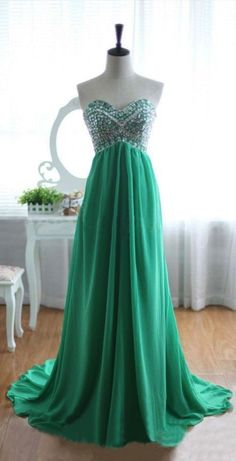 Chiffon Sweetheart Sweep Train Prom Dresses 2015 with Beadings, Green Prom Dresses