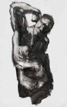 black and white expressive figure painting  by derekoverfieldart, $600.00