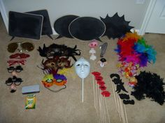 Soooo want to have a photo booth at the house !! Here are some props to get started. ( except that reepy mask in the middle)