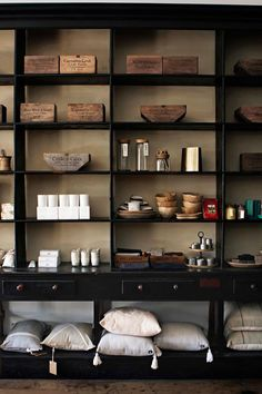 Homewares on the original shelving of a historic building in Carcoar NSW. The building is now home to Tomolly, a popular home decor store Indoor Trees, White Interior Design, Luxury Candles, Shop Fronts, Australian Homes, Home Decor Store, General Store, Modern Decor, Envy