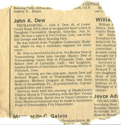 NEWSPAPER CLIPPING of JOHN A DEW