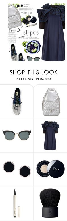 """""""Perfect Pinstripes"""" by mangoexotic ❤ liked on Polyvore featuring Chanel, Thom Browne, Anna K, AMBUSH, Christian Dior, By Terry, NARS Cosmetics, H&M, Balmain and navy"""