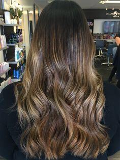 Blonde Ashy and Warm Balayage Ombre Highlights on Brown Brunette Long hair. Dallas Roberts Salon, West Jordan, Utah. Hair Salon.