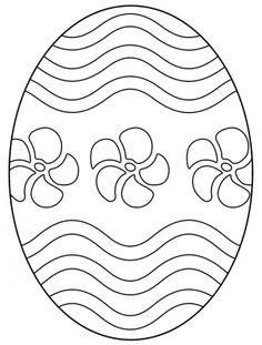 Easter egg with flowers and wavy lines.