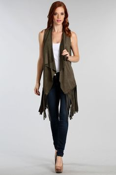 New  Hot Stylish  Womens Faux Suede fringe Vest  Size S M L  Made USA #Unbranded