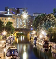 Night time along the canal in the city of Birmingham England