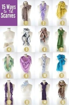 """How to tie a scarf bow (#2) // Wrap the scarf around your neck and make sure both ends are even. Then, tie the scarf just as you would tie any bow. You need a longer scarf for this one.  == How to tie the half-bow cinch (#7) // With the center of the scarf on the front of your neck, wrap the ends around your neck and back to the front. Then tie the ends together and bring one end up in a loop like tying a """"bunny ear"""" on your shoelaces. Tighten by madkaren2003"""