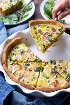 "This Paleo broccoli quiche is easy to make and perfect as a make ahead breakfast or to bring to brunch for Easter Mother's Day or anything else! It's loaded with caramelized onions savory sautéed broccoli and crisp bacon plus has a secret ""cheesy"" ingr Breakfast Quiche, Make Ahead Breakfast, Healthy Breakfast Recipes, Paleo Recipes, Bacon Breakfast, Dairy Free Quiche Recipes, Dairy Free Breakfasts, Healthy Breakfasts, Free Recipes"