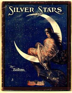 1916 Sheet music art for Silver Stars by Carl Bohm (German composer/pianist, ~ Silver Stars - DeLuxe Music Co Sheet Music Art, Vintage Sheet Music, Song Sheet, Vintage Sheets, Sun Moon Stars, Sun And Stars, Paper Moon, Retro Poster, Vintage Posters