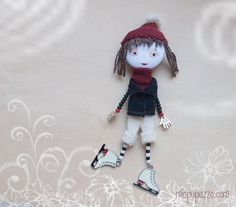 Let's Skate Art Doll Brooch Little Skate Girl mixed by miopupazzo,