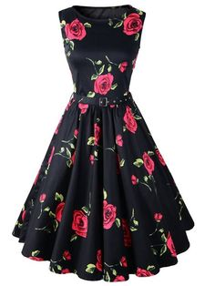 Retro Style Round Neck Sleeveless Roses Print Ball Gown Dress For Women