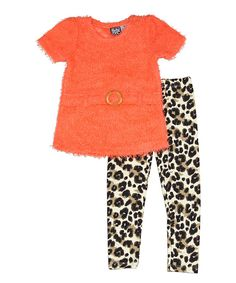 Look what I found on #zulily! Penguin Kids Wear Orange Fuzzy Top & Leopard Leggings - Toddler by Penguin Kids Wear #zulilyfinds