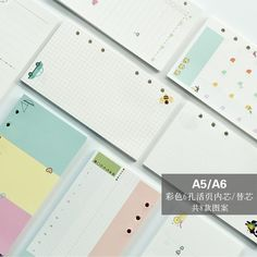 40 sheet/pack A5 A6 Colored Spiral Notebook Inner Pages 6 holes Diario Binder Paper for Filofax Planner Filler Paper Refills