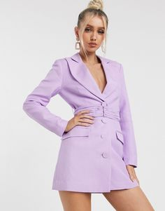 Buy Significant Other dahlia blazer mini dress in lavender at ASOS. Get the latest trends with ASOS now. Spring Fashion Trends, Summer Fashion Outfits, Spring Summer Fashion, Dahlia, Blazer Dress, Shirt Dress, Asos, Purple Mini Dresses, Significant Other