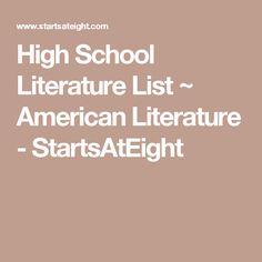 High School Literature List ~ American Literature - StartsAtEight