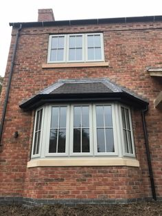 Double glazed windows and doors Nottingham Derby Leicester Grey Windows, Front Doors With Windows, Sash Windows, House Windows, Bay Window Exterior, Cottage Exterior, Red Brick Exteriors, Georgian Windows, Front Door Steps