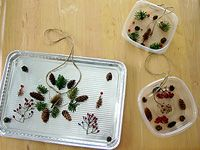 Winter Ornament - things found in nature, pie pan, shoestring/heavy string!