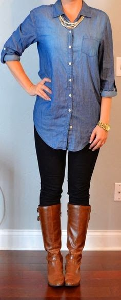 outfit post: chambray shirt, black skinny jeans, brown boots Old Navy chambray shirt, dark skinny jeans and boots Mode Outfits, Casual Outfits, Fashion Outfits, Fashion Ideas, Casual Pants, Fashion Tips, Black Skinnies, Black Leggings, Black Jeans