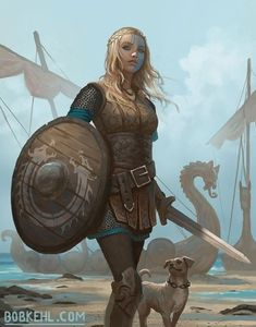 Shield-maiden by Bob Kehl : ReasonableFantasy Fantasy Warrior, Fantasy Girl, Fantasy Women, Fantasy Rpg, Medieval Fantasy, Fantasy Artwork, Female Viking Warrior, Warrior Concept Art, Fantasy Princess