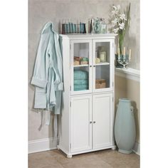 Home Decorators Collection Hampton Harbor 25 in. W x 14 in. D x 52-1/2 in. H Linen Cabinet in White-2601200410 - The Home Depot