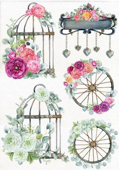 Extended Commercial License Included - Create and Sell Unlimited Projects. Printable Stickers, Planner Stickers, Watercolor Wedding, Watercolor Art, Decoupage Paper, Decoupage Vintage, Vintage Decor, Vintage Clip Art, Floral Arrangements