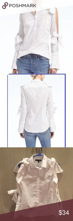 Banana Republic Long Sleeve Bow Top Brand new white button up top by Banana Republic. Open sleeve with self tie bow detail. Banana Republic Tops