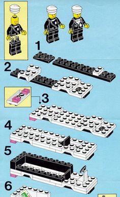 Thousands of complete step-by-step printable older LEGO® instructions for free. Here you can find step by step instructions for most LEGO® sets. Legos, Lego Cars Instructions, Lego Autos, Lego Ideas, Food Ideas, Lego Police, Lego Sculptures, Lego Boards, Lego Club