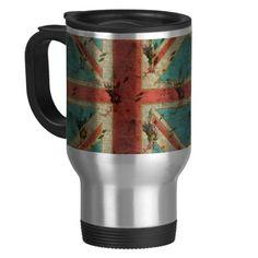 Beautiful girly trendy vintage floral U.K. Flag Mugs