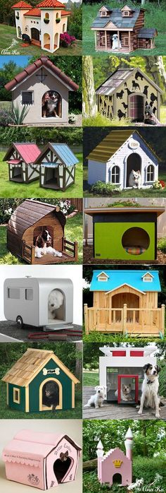 A variety of dog houses made to portray the owner and pets unique personalities. #puppied #DogHouses