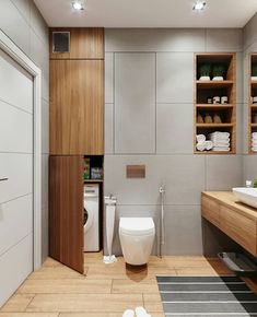 Laundry cupboards no handles! Small Laundry Rooms, Laundry Room Design, Bathroom Design Small, Laundry In Bathroom, Bathroom Interior Design, Teak Bathroom, Modern Bathroom, Bad Inspiration, Bathroom Inspiration