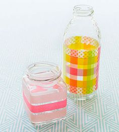 Transform items destined for the recycling bin into a vase or pencil cup by adding washi tape to clean glass jars or bottles. Create a plaid pattern by crisscrossing different colors of tape.
