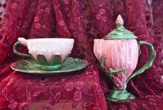 Image from Majolica International Society Archive. Zsolnay Chocolate pot, Cup and Saucer. International Society, Central And Eastern Europe, Vases, Chocolate Pots, Diy Home Crafts, Earthenware, Victorian Era, Pottery Art, Ceramic Art