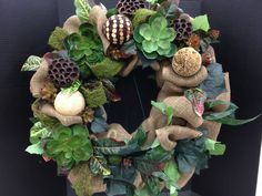 Burlap & Succulents Wreath No.1 Spring Collection 2013  Designed by Christian Rebollo