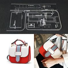 Online Shop laser cut Acrylic Template Pattern Tool For DIY Handmade Handbag Leather Craft Sewing Pattern Sewing stencils Handbag Patterns, Bag Patterns To Sew, Sewing Patterns, Leather Gifts, Leather Craft, Leather Wallet Pattern, Diy Handbag, Laser Cut Acrylic, Handmade Handbags