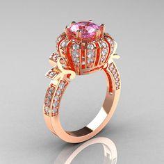 Classic Yeva 14K Rose Gold 1.0 CT Light Pink Sapphire Diamond Crown Solitaire Bridal Ring Y303H- 14KRGDLPS - WAAAAAANNNTT