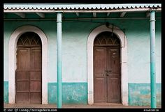 Picture/photo (Old Doors): House painted green, Panjim. Picture Photo, Nice Picture, Goa India, Knobs And Knockers, Old Doors, House Painting, Wonderful Places, Colonial, Cool Pictures
