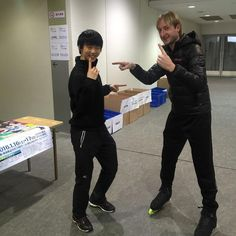 """With my great friend and great champion, Yuzuru! """