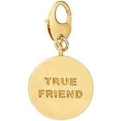 Kate Spade True Friend Charm (32 CAD) ❤ liked on Polyvore featuring jewelry, pendants, gold plated charm bracelet, kate spade bracelet, charm pendant, charm bracelet jewelry and bracelet jewelry