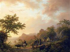 Barend Cornelis Koekoek: An exrtensive summer landscape with travellers on path (1848)