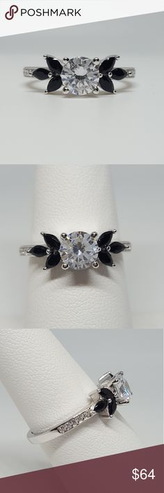 Sterling Silver Flower Ring Sterling Silver Flower Ring 925 Sterling Silver Black & Clear CZ  ❤ Please keep in mind when making an offer- 💲Poshmark fees to the seller are: 💲$15 and under- $2.95 of the sale 💲Above $15- 20% of sale  🎁 Gift Box available upon request with purchase!   💥 MAKE A BUNDLE to save on shipping fees. Jewelry Rings