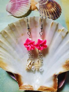 Aloha Pink Plumeria flower Hawaiian flower pearl and tiny | Etsy Hawaiian Flowers, Fish Hook Earrings, Cool Items, Peace And Love, Pink, Etsy, Food, Hot Pink, Meals