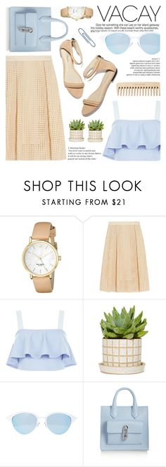 """Pastel Cutout Skirt"" by jiabao-krohn ❤ liked on Polyvore featuring Kate Spade, By Malene Birger, New Look, 3.1 Phillip Lim, Quay, Balenciaga, The Body Shop, pastelskirt, BeachPlease and cutoutskirt"