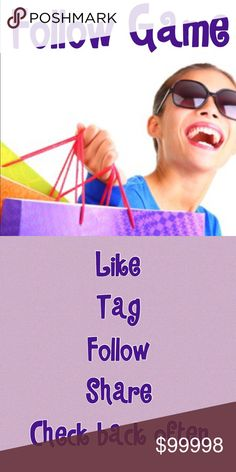 New Follow Game Check back often. 👛 Optional but worth it 👛Share 5 items from every closet you follow. 🍀Shares = ❤️ = 💲 Other